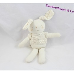 Doudou lapin NATURES PUREST Pure Love pull blanc 27 cm