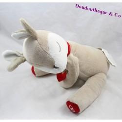 Peluche biche OBAIBI faon beige blanc écharpe rouge 28 cm