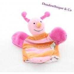 Doudou marionnette abeille UN RÊVE DE BEBE orange jaune rose