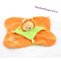 Doudou plat lion LOGITOYS orange vert spirale grelot 28 cm