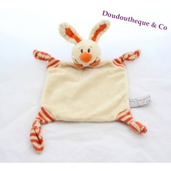 Doudou plat lapin ANNA CLUB PLUSH beige orange 27 cm