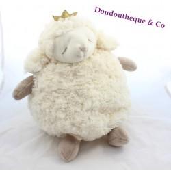 Peluche mouton ETAM range pyjama couronne à paillettes 40 cm