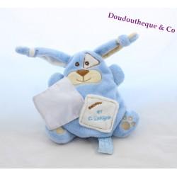 Doudou lapin DOUDOU ET COMPAGNIE Monster Douceur bleu 18 cm