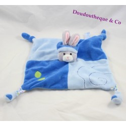 Doudou flat blue GIPSY rabbit leaves green puppet 25 cm