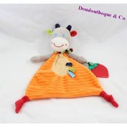 Doudou plat  Vache  âne cheval  zèbre ou girafe OUATOO LOGITOYS orange 27 cm