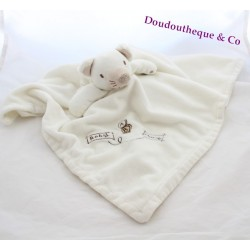 Doudou plat souris PRIMARK EARLY DAYS Baby Mouse ABC blanc 47 cm