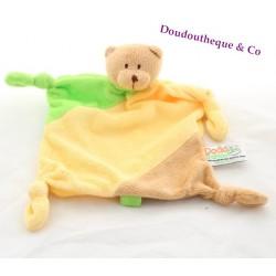 Doudou plat ours DODO D'AMOUR MGM beige jaune vert 27 cm