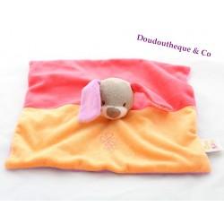 Doudou plat lapin DOUKIDOU Charlotte violet orange rouge fleurs 27 cm