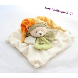 Teddy bear comforter DOUDOU ET COMPAGNIE green petals orange hat