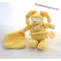 Doudou ours DOUDOU ET COMPAGNIE Douceur macaron mouchoir jaune bergamotte