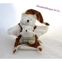 Doudou puppet bears DOUDOU and company Pocket brown white 26 cm