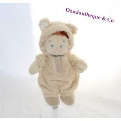Doudou garçon NICOTOY déguisé en ours beige 23 cm