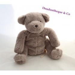 Doudou ours DPAM gris taupe assis Du pareil au même 22 cm