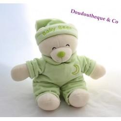 Peluche ours GIPSY vert Baby bear lune bonnet de nuit 27 cm