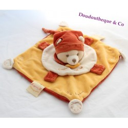 Doudou plat Ours Cannelle DOUDOU ET COMPAGNIE collector orange 26 cm