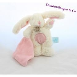 Doudou lapin BABY NAT' Les câlins blanc rose croix ventre 18 cm