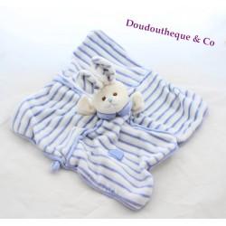 Doudou flat blue square BUKOWSKI rabbit scratched puppet 30 cm