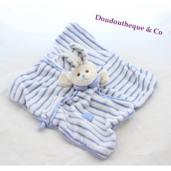 Doudou plat lapin BUKOWSKI carré bleu rayé marionnette 30 cm