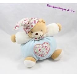 Doudou boule ours KALOO Liberty fleurs coeur 18 cm
