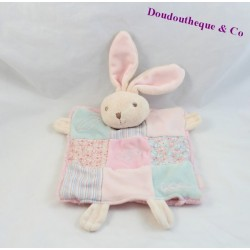 Soft puppet rabbit KALOO Liliblue patchwork pink blue fabric striped flowers