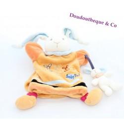 Doudou Marionnette BABY NAT' Lapin Orange Et Son Bébé Broderies 3 lapins