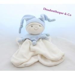 Doudou arlequin lutin PRISCILLA LARSEN bleu et blanc marionnette 1999