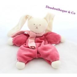 Doudou plat lapin COROLLE grelot echarpe foulard rose