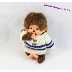 Peluche singe Kiki le vrai AJENA pull blanc et bleu yeux marron signé sous le pied vintage 18 cm