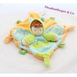 Doudou plat garçon papillon NICOTOY vert bleu orange 22 cm