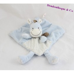 Doudou flat donkey horse Zebra NICOTOY blue stripes scarf Brown 21 cm