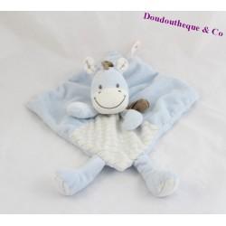 Doudou plat âne cheval zèbre NICOTOY bleu rayures écharpe marron 21 cm