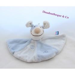 Doudou plat chien SUCRE D'ORGE bleu blanc cocard spirales 22 cm