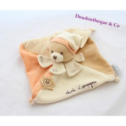 Bear flat Doudou DOUDOU and company leaf Nature orange beige relief
