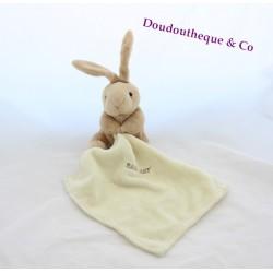 Doudou Lapin BABY NAT' rose mouchoir blanc 21 cm