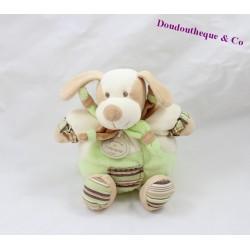 Doudou boule chien Copain DOUDOU ET COMPAGNIE Les Z'amigolos vert marron 22 cm