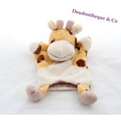 Doudou marionnette girafe BABY NAT' orange tâches marron 29 cm
