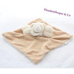 Doudou plat ours JACADI beige blanc 25 cm