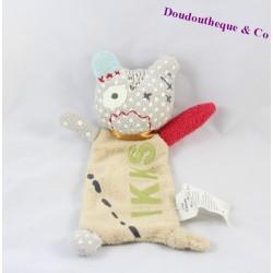 Doudou plat chat monstre IKKS gris beige pois 21 cm