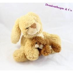 Peluche, doudou maman lapin et son bébé NOUNOURS beige et marron 20 cm