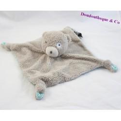 Doudou flat bear ORCHESTRA gray blue cocard knots 24 cm