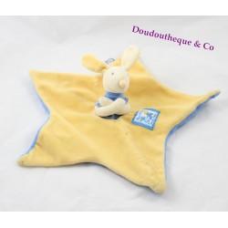 Doudou plat lapin MOULIN ROTY Lise et Lulu étoile bleu jaune 29 cm