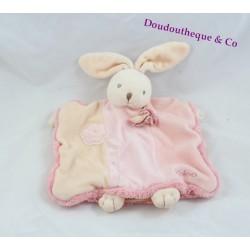 Doudou marionnette lapin KALOO Lilirose fleurs rose 23 cm