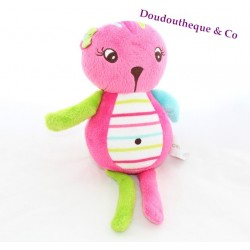 Plush cat ORCHESTRA pink green blue striped belly 25 cm