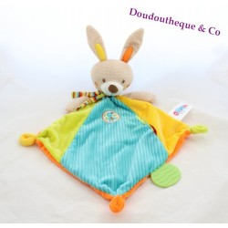Doudou rabbit flat OUATOO green blue orange love Rhombus 44 cm