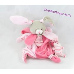 Doudou marionnette lapin DOUDOU ET COMPAGNIE Célestine rose pétales 23 cm