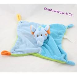 Doudou plat éléphant BAMBIA bleu vert orange 25 cm