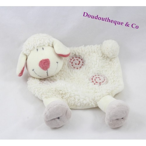 doudou plat mouton kiabi beige spirales rouge nicotoy 20 cm sos d. Black Bedroom Furniture Sets. Home Design Ideas