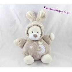 Doudou boule ours AUCHAN déguisé en lapin beige blanc taupe 24 cm