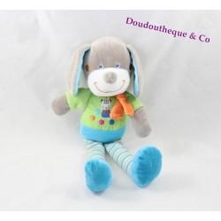 Doudou chien MOTS D'ENFANTS LECLERC bleu vert jambes rayées 30 cm