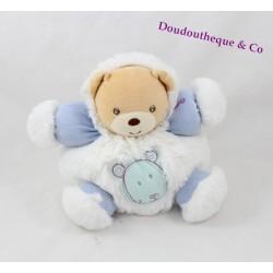 Doudou ours KALOO Igloo bleu blanc patapouf tête d'ours 18 cm